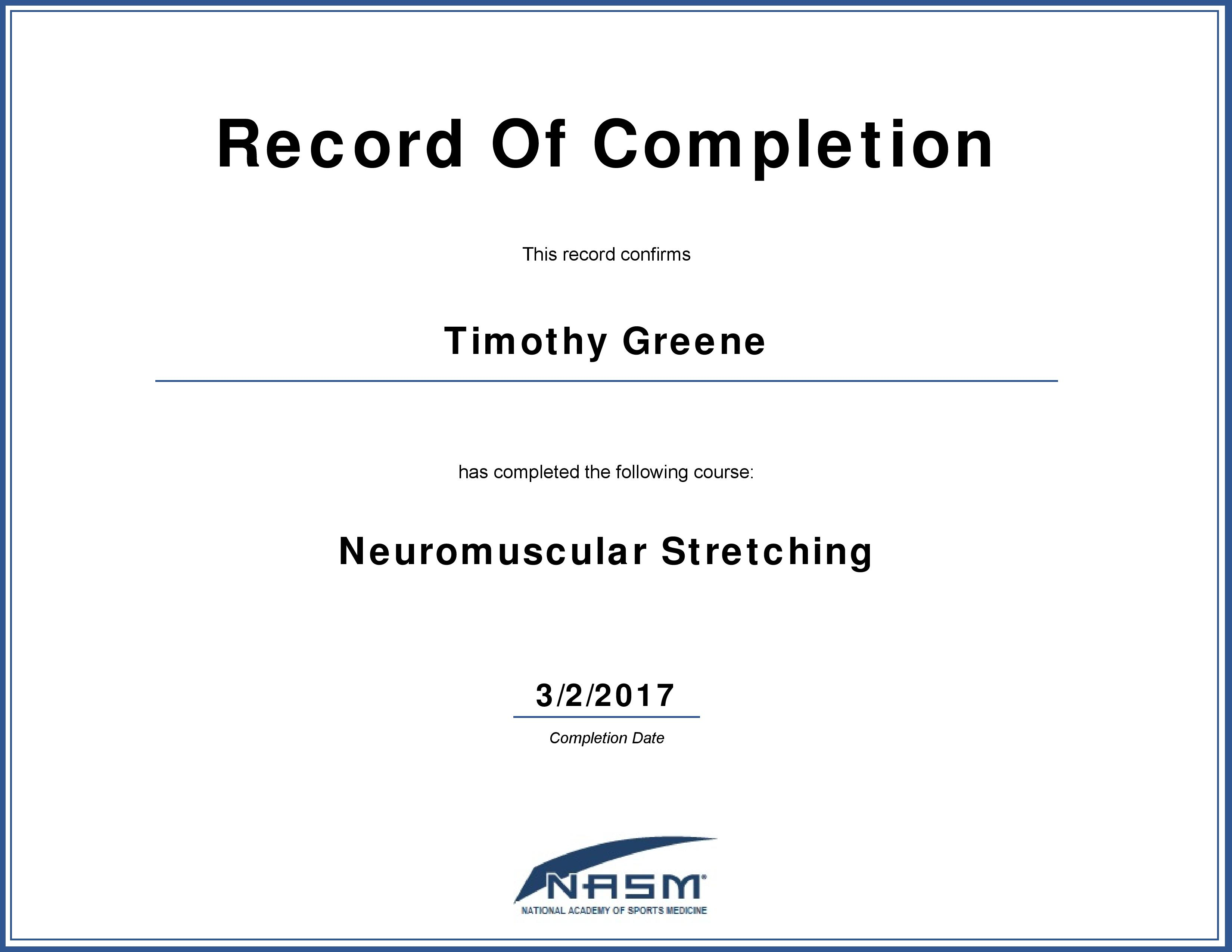Neuromuscular Stretching